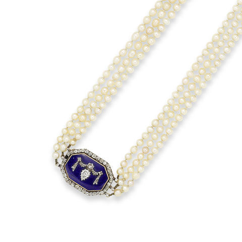 A 19th century three-row natural pearl necklace with enamel and diamond clasp