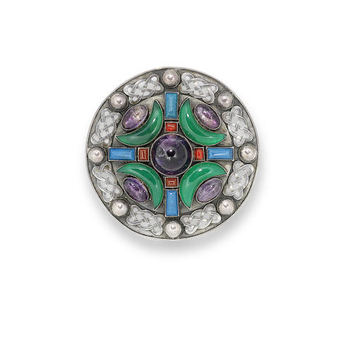 A silver and multi gem-set brooch, by Sybil Dunlop