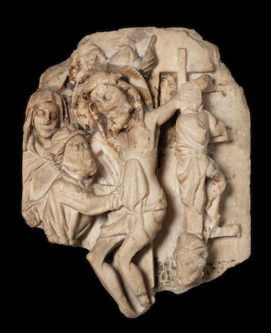 A 15th century English Nottingham alabaster relief depicting the Deposition