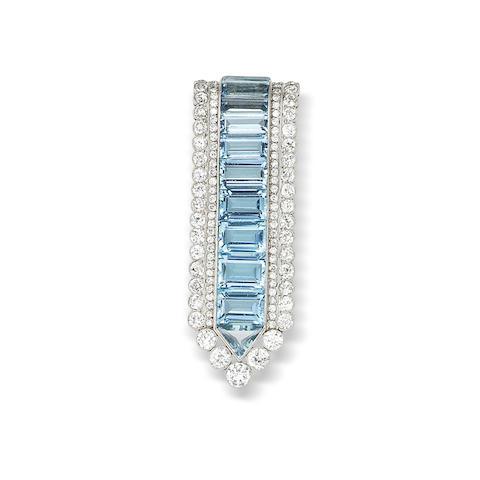 A diamond and aquamarine brooch,