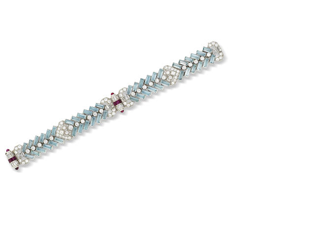 An art deco aquamarine, ruby and diamond bracelet,