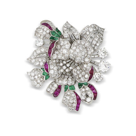A diamond, ruby and emerald brooch,