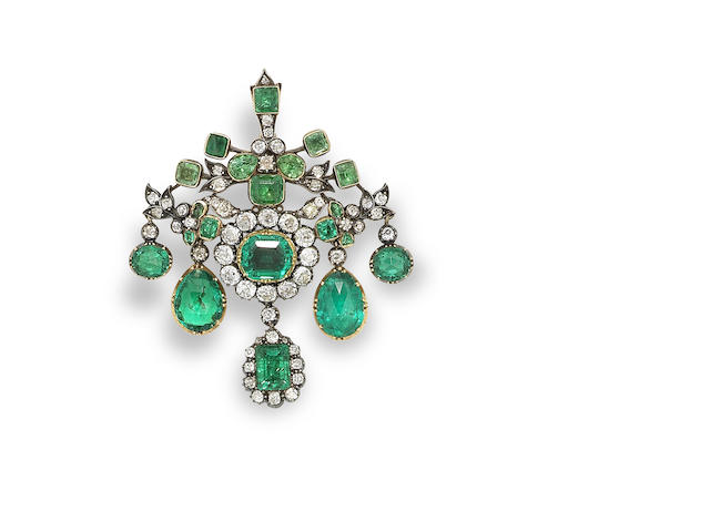 A 19th century emerald and diamond girandole brooch/pendant