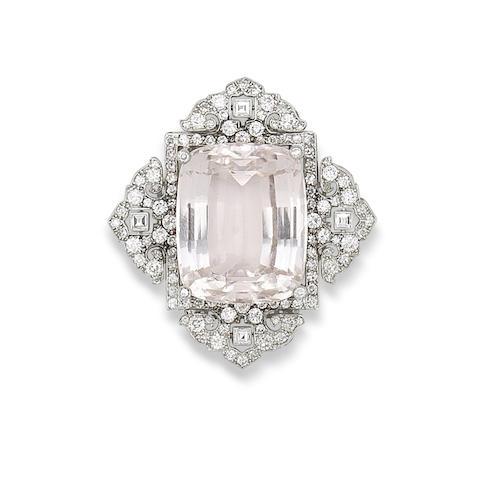 A kunzite and diamond brooch