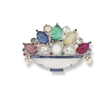 A multi gem-set, pearl and diamond giardinetto brooch,