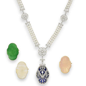 A belle époque diamond, seed pearl and enamel sautoir, (5)