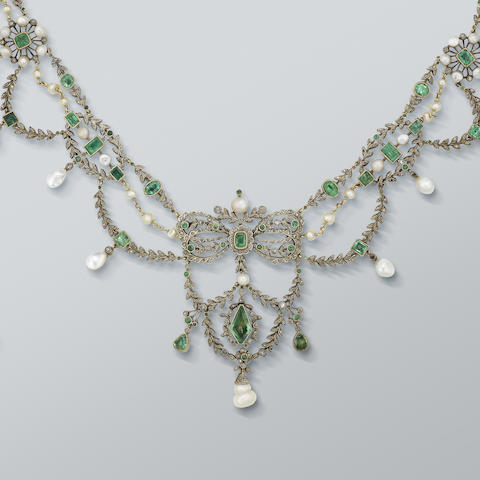 An emerald, pearl and diamond necklace/tiara,