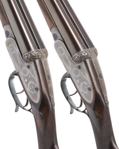 A fine pair of 12-bore self-opening sidelock ejector guns by J. Purdey & Sons, no. 12643/4 Formerly the property of Field-Marshal Sir Douglas Haig In their brass-mounted oak and leather case, the lid impressed 'D.H.' and with brass escutcheon engraved 7th Hussars