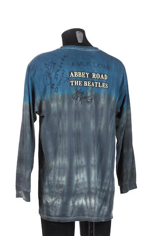John Entwistle : an autographed 'Beatles/Abbey Road' shirt,