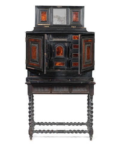 A Flemish 17th century ebony and ebonised, rosewood, gilt bronze, tortoiseshell and bone inlaid cabinet on stand on a later stand