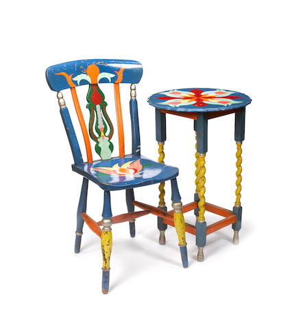 A rare decorated table and chair from the Apple Boutique, circa 1968,