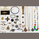A collection of antique jewellery items