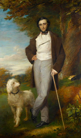 Circle of Sir Francis Grant RA (British, 1803-1878) Portrait of Gentleman, full length standing in parkland with his poodle