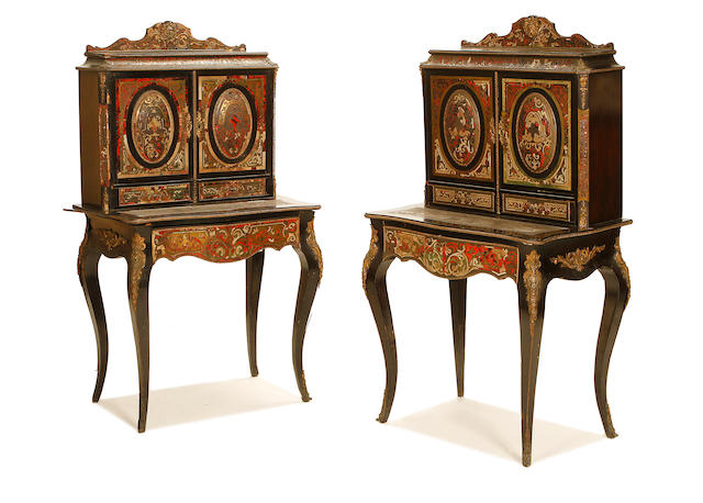 A pair of French late 19th century ebonised, tortoiseshell and brass 'boulle' marquetry bonheur du jours