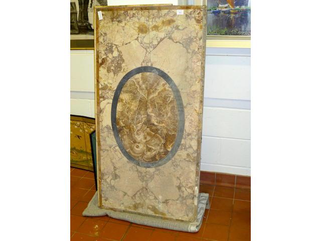 A pair of antique veined marble-veneered table tops
