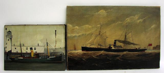 C.Ramsey (British, 19th century) The SS Ebor signed and dated 1884. Oil on canvas, unframed. 14x21ins.(36x54cm) Together with: An unnamed portrait of a steam trawler. Unsigned, oil on canvas, unframed. 10.25x13.8ins.(26x35cm) 2