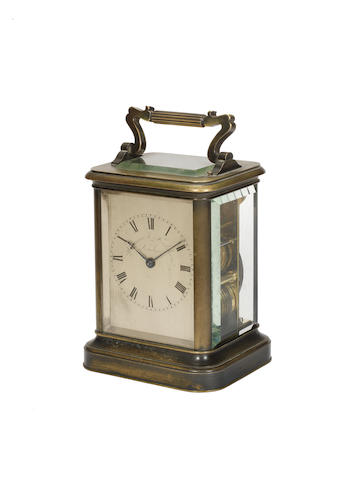 A good mid 19th century English bronzed striking and repeating carriage clock  Parkinson & Frodsham, London,