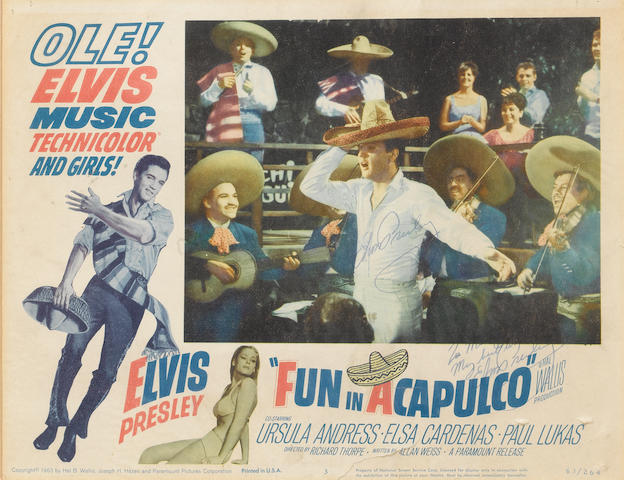 Elvis Presley: An autographed lobby card, for the film 'Fun In Acapulco', 1963,