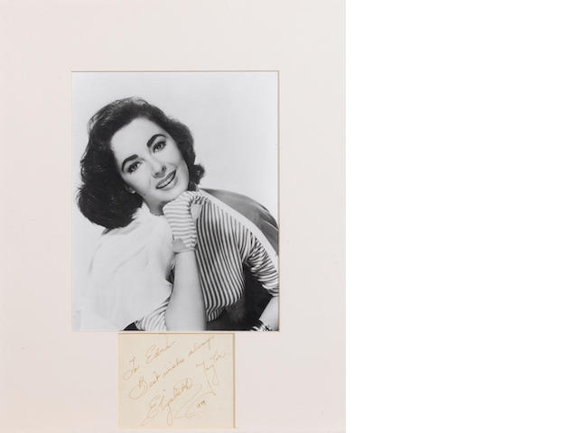 Elizabeth Taylor autograph, dated 1949,