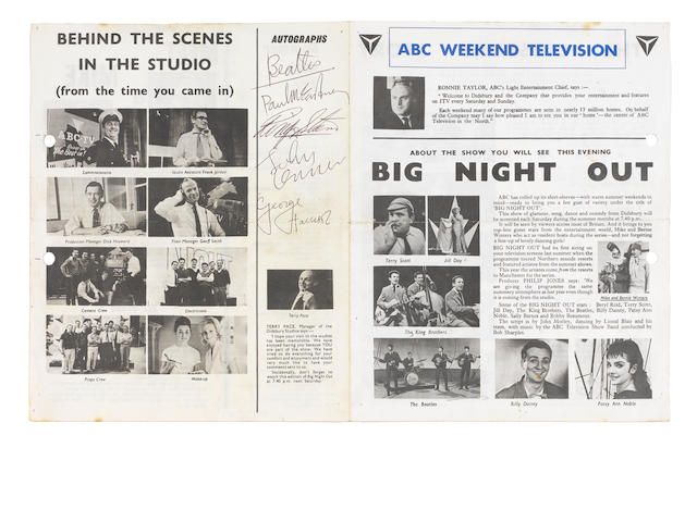 An ABC Weekend Television 'Big Night Out' leaflet autographed by the Beatles, 1963,