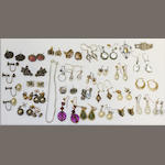 Various pairs of gold and other stone set and pear earrings