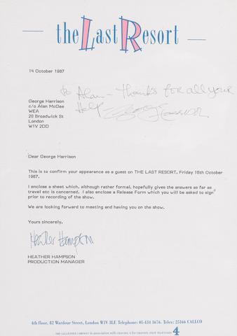 A letter signed by George Harrison, 1987,