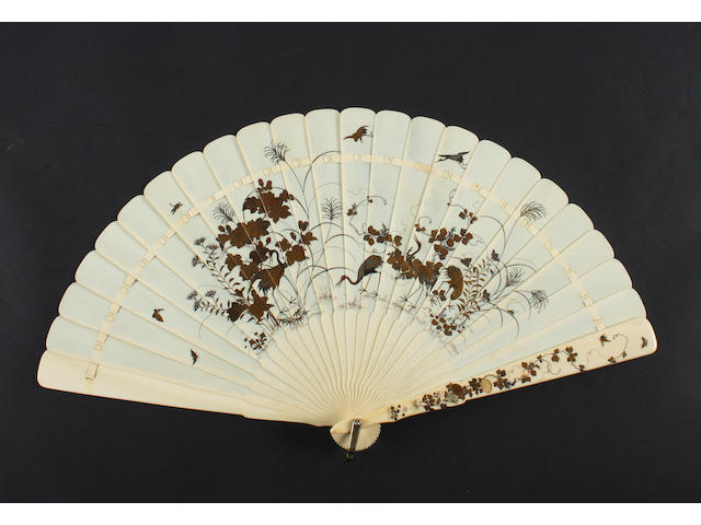 A Japanese Shibayama and lacquered ivory brisé fan, 19th century