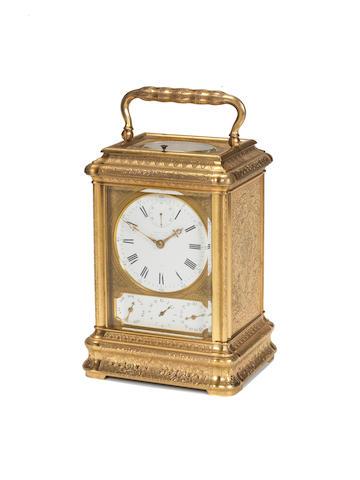 A fine third quarter of the 19th century French engraved gilt brass grande sonnerie giant carriage clock Drocourt for Idrac Leroy, 22 Rue du Bouloi, Paris