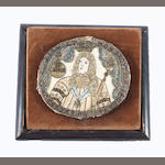 A late 17th century needlework handheld mirror