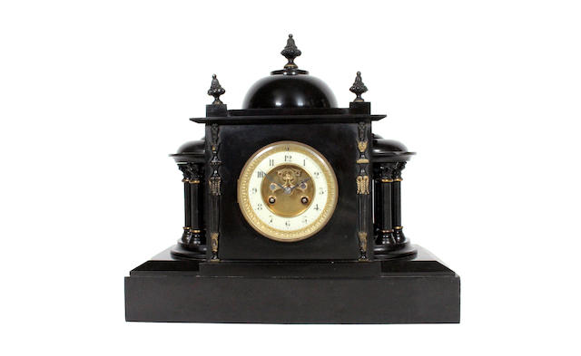 A late 19th century slate architectural design mantle clock