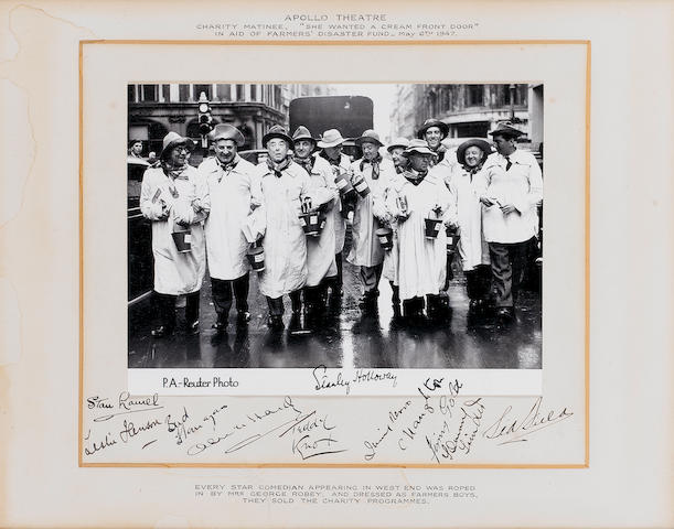 Laurel and Hardy/British Comedy stars: An autographed photograph of various comedy stars raising funds for the 'Farmers Disaster Fund', May 1947,