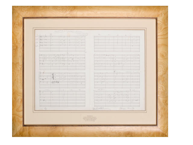 A limited edition lithograph of the score for 'Yesterday',