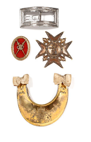 A Historical Mid 18th Century British Officer's Gorget, the Embroidered Breast Star of the Order of St Louis, a Gilt Breast Badge for 24 Years Loya Service in the French Royal Army, A Large Silver Plated Shoe Buckle