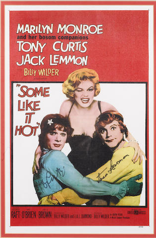 Some Like It Hot: A reproduction film posters signed by Tony Curtis and Jack Lemmon,
