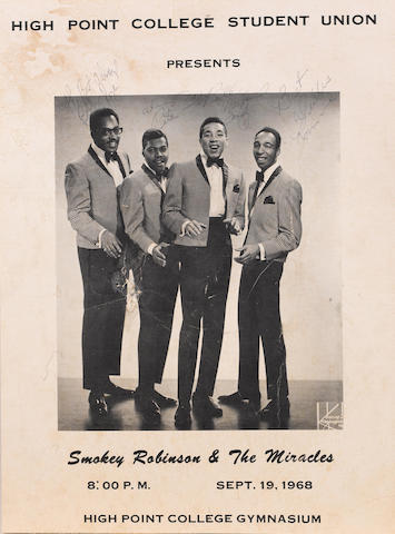 """An autographed Smokey Robinson & The Miracles """"boxing-style"""" concert poster, High Point College, 19th September 1968,"""