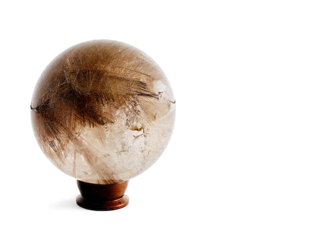 A rutilated quartz sphere