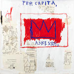 After Jean-Michel Basquiat Per Capita Screenprint in colours, 1983-2001, on Saunders 410 Hot Press watercolour paper, with the Gerard Basquiat signature in pencil and artist's estate stamps verso, numbered 4/85, published by DeSanctis Carr Fine Art, New York, the full sheet, 1017 x 1016mm (40 x 40in) (SH)