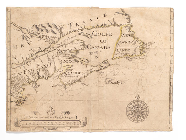 MAPS - NEW ENGLAND and NOVA SCOTIA [ALEXANDER (WILLIAM, Earl of Stirling) New England, Eastern Canada and New Foundland], FIRST STATE