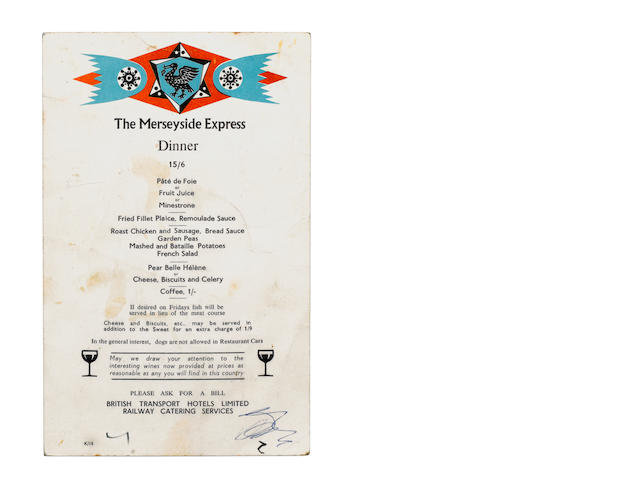 The Beatles: An autographed 'Merseyside Express' menu card, 1963,