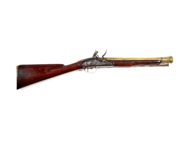 A Flintlock Brass Barrelled Blunderbuss