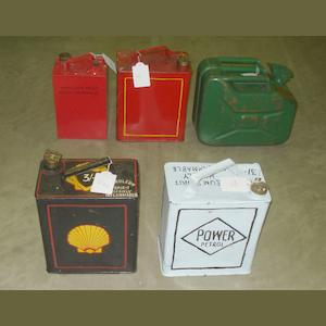 Assorted petrol cans,