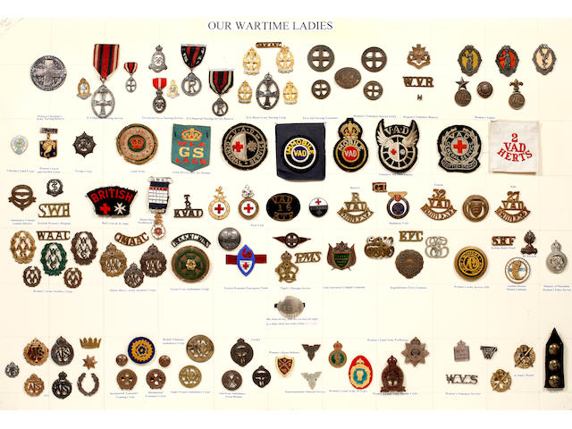 'Our Wartime Ladies' a Carded Display of Badges and Medals