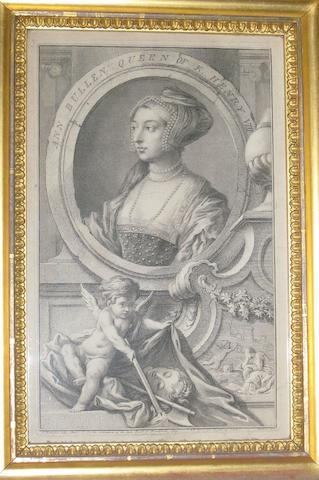 After Sir Godfrey Kneller 'Ann Bullen Queen of K Henry VIII' 36cm x 22cm