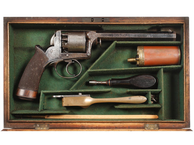 A Cased 54 Bore Deane Adams Five-Shot Percussion  Revolver