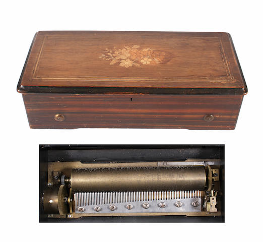 A lever wind cylinder musical box circa 1885,