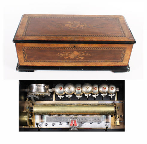 A twelve air cylinder musical box by Thibouville-Lamy, circa 1885,