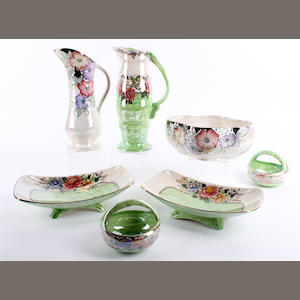 Five pieces of Maling 'Peony Rose' pattern wares