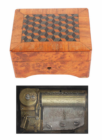 A small musical box with two air movement, circa 1895,