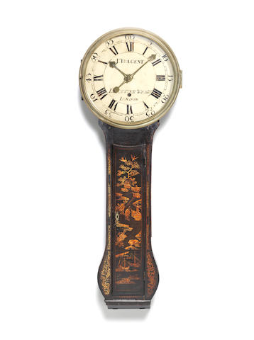 A late 18th century chinoiserie decorated tavern timepiece The dial signed for James Tregent, Leicester Square, London