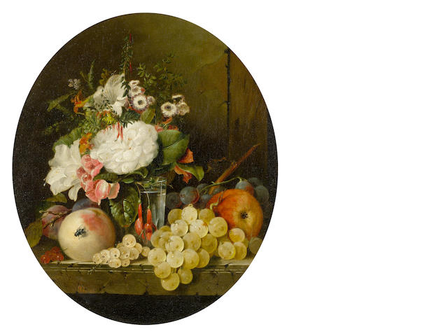 Edward Ladell (British, 1821-1886) Still Life with flowers and fruit on a marble ledge